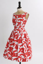 Load image into Gallery viewer, Vintage 1950s original brick red and white abstract floral print cotton dress UK 6 8 US 2 4 XS