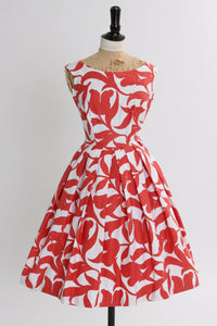 Vintage 1950s original brick red and white abstract floral print cotton dress UK 6 8 US 2 4 XS