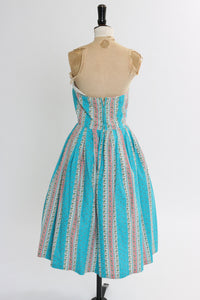 Vintage 1950s original pink and blue stripe cotton dress UK 8 US 4 S