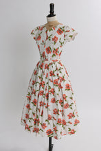 Load image into Gallery viewer, Vintage 1950s original white cotton dress with orange blooming roses UK 6 8 US 2 4 XS S