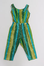 Load image into Gallery viewer, Vintage 1950s original blue and green novelty stripe jumpsuit UK 6 US 2 XS