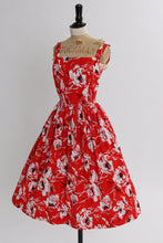 Load image into Gallery viewer, Vintage 1950s original red bright floral print cotton dress by Horrockses fashions UK 6 8 US 2 4 XS S