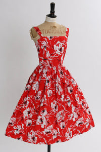 Vintage 1950s original red bright floral print cotton dress by Horrockses fashions UK 6 8 US 2 4 XS S