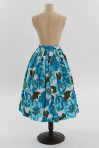 Vintage 1950s original vibrant blue floral print cotton skirt by Joan Kay UK 6 8 US 2 4 XS S