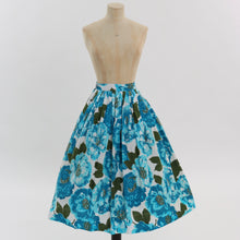 Load image into Gallery viewer, Vintage 1950s original vibrant blue floral print cotton skirt by Joan Kay UK 6 8 US 2 4 XS S