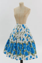 Load image into Gallery viewer, Vintage 1950s original blue and green floral rose print cotton skirt UK 6 US 2 XS