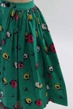 Load image into Gallery viewer, Vintage 1950s original bright green floral print cotton skirt UK 6 US 2 XS