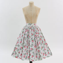 Load image into Gallery viewer, Vintage 1950s original pink and grey floral bouquet print cotton skirt UK 6 US 2 XS