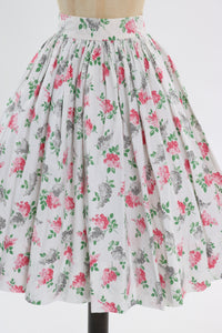 Vintage 1950s original pink and grey floral bouquet print cotton skirt UK 6 US 2 XS