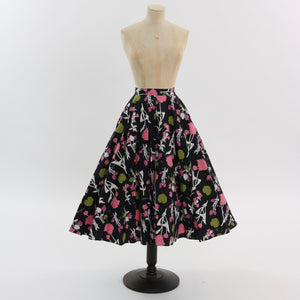 Vintage 1950s original novelty floral print cotton circle skirt UK 8 10 US 4 6 S