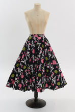 Load image into Gallery viewer, Vintage 1950s original novelty floral print cotton circle skirt UK 8 10 US 4 6 S