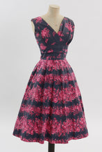 Load image into Gallery viewer, Vintage 1950s original pink and grey floral print cotton dress UK 8 10 US 4 6 S