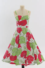 Load image into Gallery viewer, Vintage 1950s original green and red leaf print cotton dress with full circle skirt UK 6 US 2 XS
