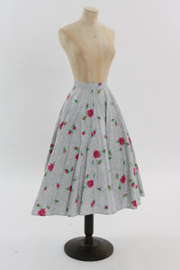 Vintage 1950s original rose print cotton circle skirt UK 8 10 US 2 4 S