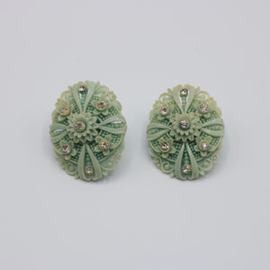 Vintage 1940s 1950s original  mint green celluloid and rhinestone clip earrings