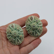 Load image into Gallery viewer, Vintage 1940s 1950s original  mint green celluloid and rhinestone clip earrings