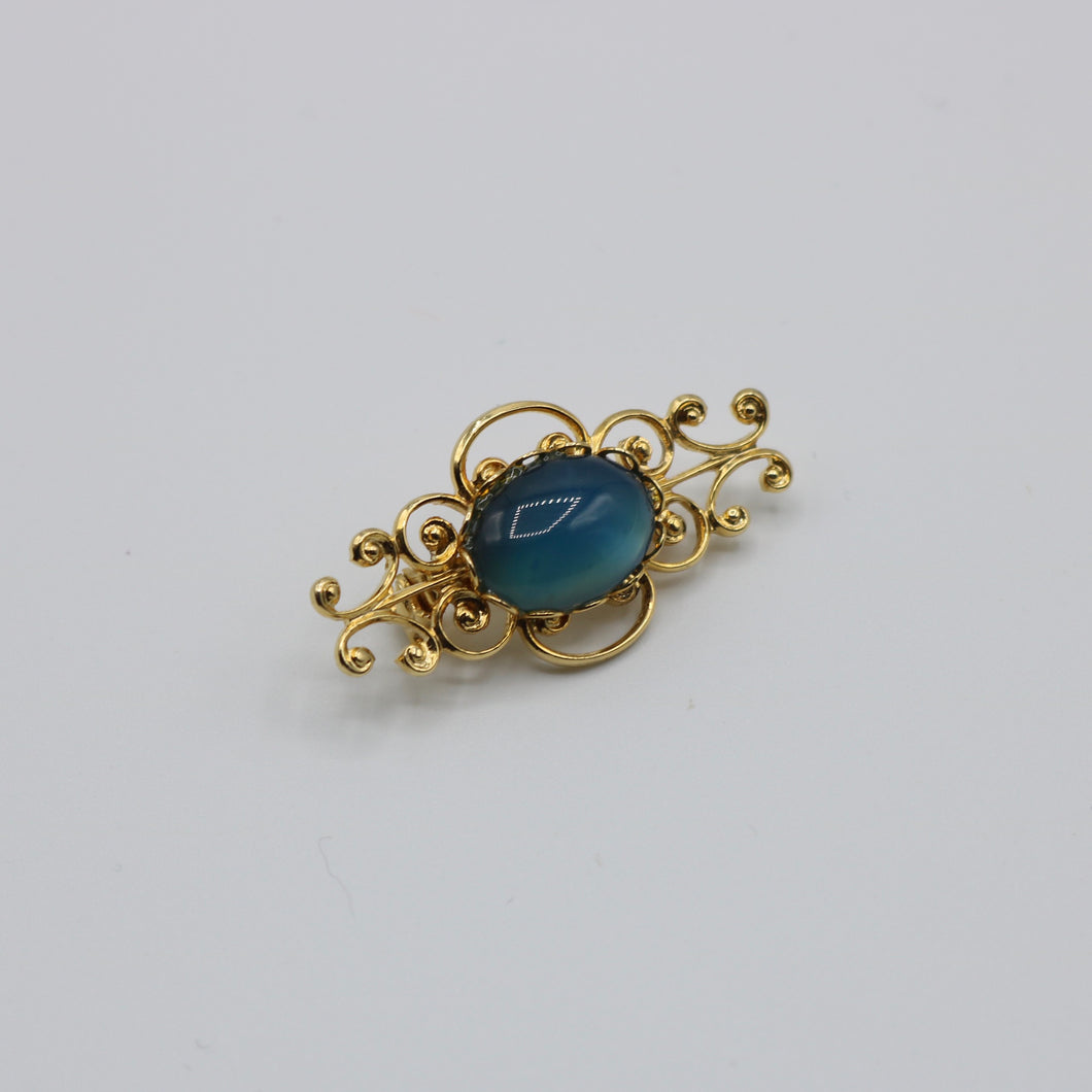 Vintage c 1950s 1960s beautiful gold tone metal and blue glass brooch