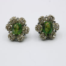 Load image into Gallery viewer, Vintage 1950s original glass and rhinestone flower clip earrings