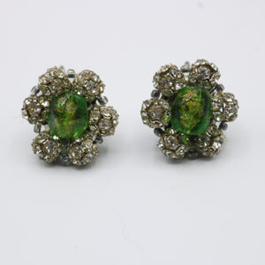 Vintage 1950s original glass and rhinestone flower clip earrings