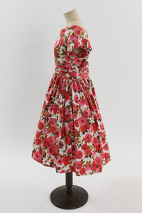 Vintage 1950s original Peggy Page floral rose print cotton dress UK 10 12 US 6 8 S M