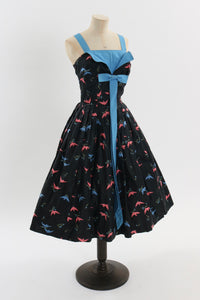 Vintage 1950s original novelty bird print cotton dress UK 8 US 4 S