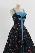 Load image into Gallery viewer, Vintage 1950s original novelty bird print cotton dress UK 8 US 4 S