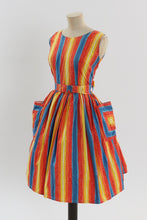 Load image into Gallery viewer, Vintage 1950s original rainbow stripe cotton dress UK 10 US 6 S M