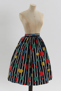 Vintage 1950s original bright novelty multi spot skirt UK 6 8 US 2 4 XS S
