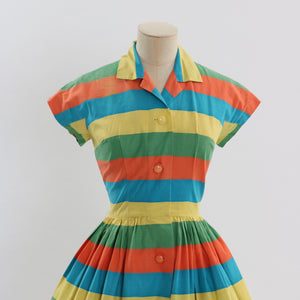 Vintage 1950s original Berketex Continentals vibrant stripe cotton dress uK 8 US 4 S