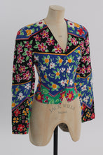 Load image into Gallery viewer, Vintage 1980s original happy floral novelty print jacket Anne Crimmins Umi Collections UK 8 10 US 4 6 S