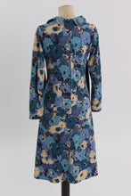 Load image into Gallery viewer, Vintage 1970s original blue floral print dress UK 6 8 10 US 2 4 6 XS S