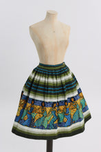 Load image into Gallery viewer, Vintage 1950s 1960s original Dorothy Perkins novelty border print cotton skirt UK 6 8 US 2 4 XS