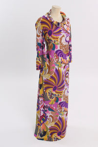 Vintage 1970s original Emilia Bellini Firenze novelty signature print stretch maxi dress S M