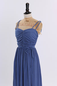 Vintage 1970s original cornflower blue finely pleated dress by Shubette UK 6 8 US 2 4 XS