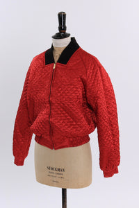 Vintage 1980s original deadstock reversible bomber jacket by Alain Cannelle UK 10 US 6 S M