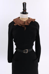 Vintage 1950s 1960s original black wiggle dress with statement collar UK 8 10 US 4 6 S