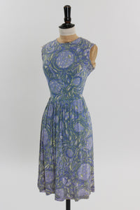 Vintage 1950s original novelty abstract print rayon jersey dress by Carol Brent UK 8 10 US 4 6 XS S