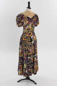 Vintage 1940s does 1930s original novelty floral and fish print dress w puffed sleeves UK 6 US 2 XS