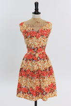 Load image into Gallery viewer, Vintage 1950s original rose print cotton dress UK 8 10 US 4 6 S
