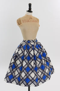 Vintage 1950s original novelty diamond check skirt by Gor Ray UK 8 US 4 XS S