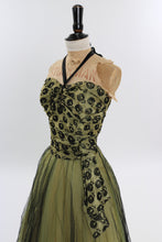 Load image into Gallery viewer, Vintage 1950s original chartreuse cocktail dress with net skirt UK 6 US 2 XS