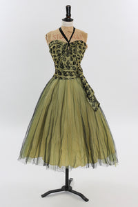 Vintage 1950s original chartreuse cocktail dress with net skirt UK 6 US 2 XS