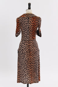 Vintage 1970s original leopard print dress possibly Bus Stop UK 6 8 US 2 4 XS