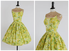 Load image into Gallery viewer, Vintage original 1950s cotton floral print sun dress by Cover Girl of Miami UK 6 8 US 2 4 XS S