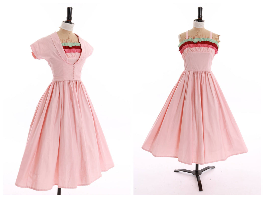Vintage original 1950s novelty Joan Miller Juniors baby pink dress n matching bolero UK 6 US 2 XS