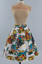 Load image into Gallery viewer, Vintage original 1950s cotton skirt novelty holiday destinations Italy Spain Egypt etc. UK 8 US 4 XS S