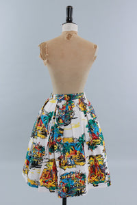Vintage original 1950s cotton skirt novelty holiday destinations Italy Spain Egypt etc. UK 8 US 4 XS S