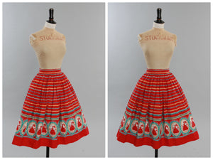 Vintage original 1950s novelty cameo print cotton skirt crinoline ladies UK 4 6 US 0 2 XXS
