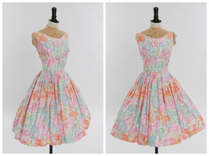 Vintage original 1950s novelty butterfly print cotton dress by Melo California UK 6 US 2 XS
