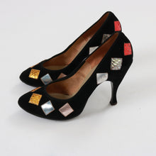 Load image into Gallery viewer, Vintage 1950s original Matthias Robinson Briggate Leeds metallic patchwork stiletto heels UK 4 US 6 EU 37